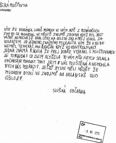 Dopis české pojišťovně